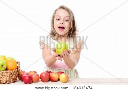 Child, Cute Baby Happy Girl With Colorful Fruits In Basket