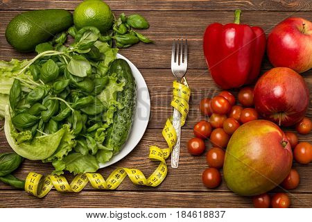 Healthy eating, dieting, slimming and weigh loss concept. Space for text. Diet concept