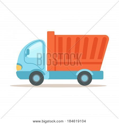 Dump truck, construction machinery equipment colorful cartoon vector Illustration isolated on a white background