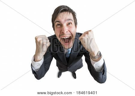 Happy And Cheerful Man Is Excited. Winning And Success Concept.