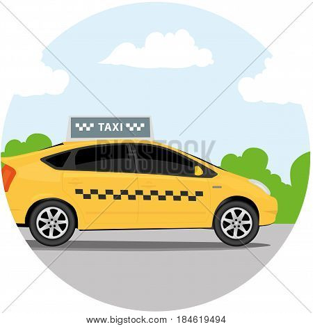 Yellow taxi car in front of sky with clouds taxi icon call taxi concept vector illustration