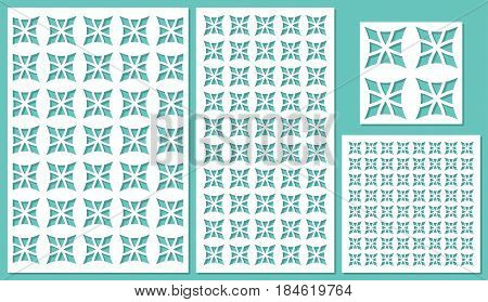 Set of decorative panels laser cutting. Universal square floral pattern. The ratio of 2: 3, 1: 2, 1: 1, seamless. Vector illustration.