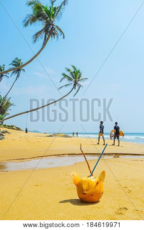 BOOSA SRI LANKA - DECEMBER 4 2016: The scenic resorts of the West Coast are the tropic paradise waiting for the tourists on December 4 in Boosa Sri Lanka.