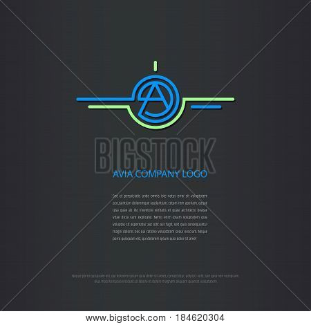 Logo design for avia company, plane construction company, avia traffic company. Vector logo has capital A letter in the center. Business card design included.
