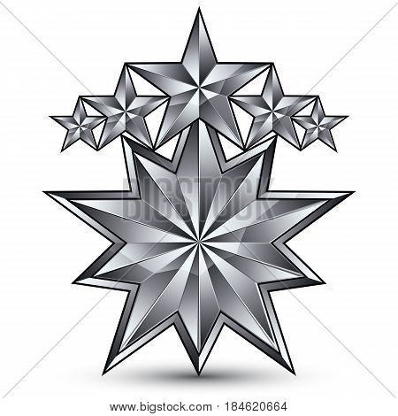3d vector classic royal symbol sophisticated silvery round emblem with 5 stars isolated on white background glossy gray element.