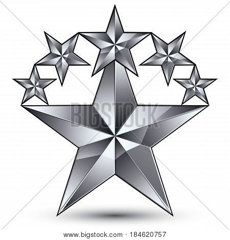 Glamorous vector template with pentagonal silvery star symbol best for use in web and graphic design. Conceptual gray 3d heraldic icon clear eps8 vector.