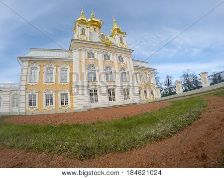 PETERHOF RUSSIA- APRIL 25 2015: Peterhof Big palace in Peterhof
