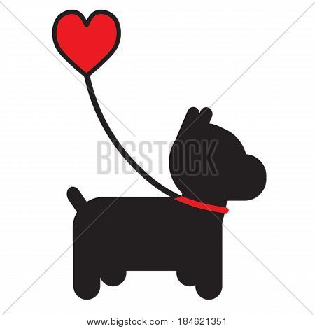 A silhouette of a little black dog on a leash that has a heart for a handle