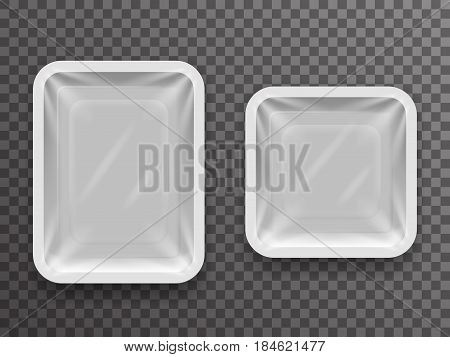 Disposable food pack isolated realistic shop package box with shadow mockup transparent background design vector illustration
