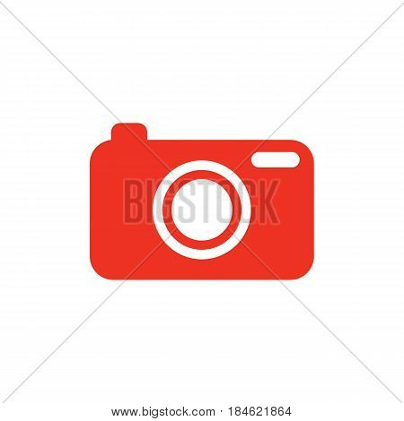 Red camera icon in flat style. Isolated camera icon for use in variety of projects. Minimal vector camera icon for web sites and apps.