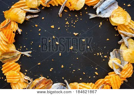 Fish And Chips On A Black Background Mockup