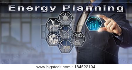 Blue chip power producer plugging trend chart icon into a virtual Energy Planning matrix. Industry and technology concept for energy saving sustainable development energy policy and climate change.