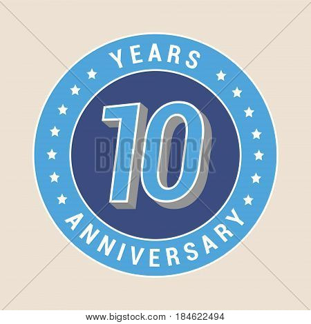 10 years anniversary vector icon emblem. Design element with blue color medal as a banner for 10th anniversary