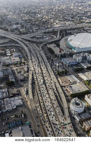 Los Angeles, California, USA - April 12, 2017:  Afternoon aerial view of Santa Monica 10 and Harbor 110 freeway interchange in downtown LA.