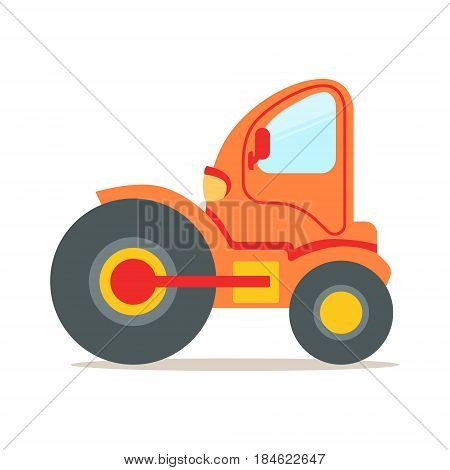 Orange steamroller truck construction machinery colorful cartoon vector Illustration isolated on a white background