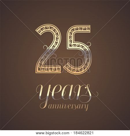 25 years anniversary vector icon symbol. Graphic design element with golden number for 25th anniversary greeting card
