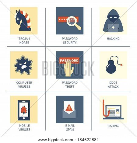 Hacking and cyber crime - set of 9 vector icons of gadgets and hacker's activities. Flat style. For web and paper ads. Infographic elements. Hacker attack illustration.