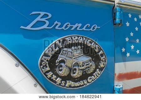 Ford Bronco Emblem On Display