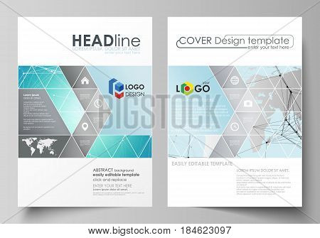 The vector illustration of the editable layout of two A4 format covers with triangles design templates for brochure, flyer, booklet. Futuristic high tech background, dig data technology concept