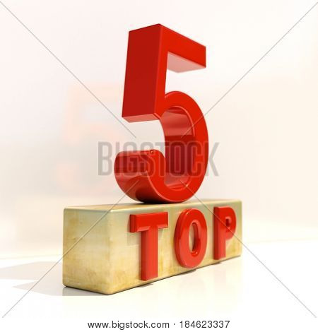 3d render: Realistic 3d Letters Top 5, 3D Style Rating Sign