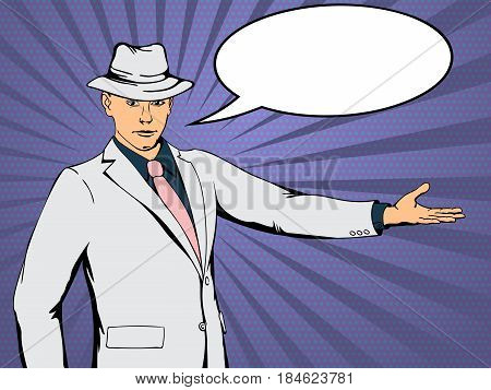 Confident businessman indicates direction. Retro style pop art. Vector illustration