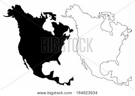 North America map vector illustration , scribble sketch North America