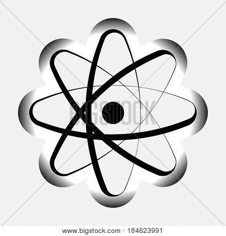 icon atom model of the atom atomic symbol a black image of the atom model of the atom symbols physics science vector image is fully editable