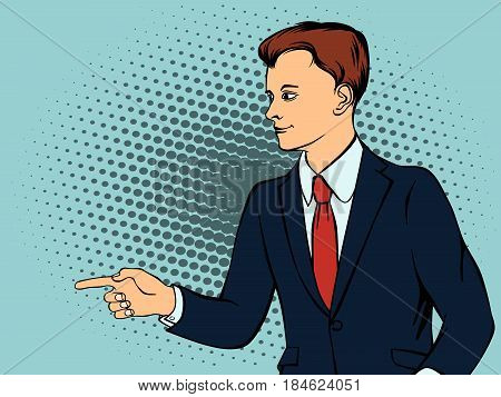 Confident businessman defends his belief. Retro style pop art. Vector illustration