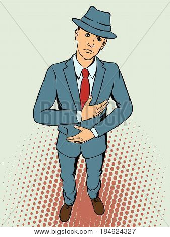 Young man in hat shows malaise. Retro style pop art. Vector illustration