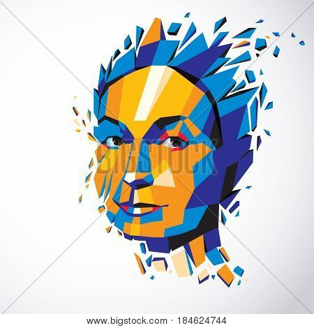 Vector dimensional low poly female portrait graphic illustration of human head broken into fragments. 3d demolished object created with fractures and different particles.