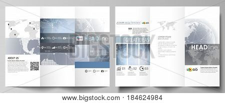 The minimalistic abstract vector illustration of the editable layout of two creative tri-fold brochure covers design business templates. Abstract futuristic network shapes. High tech background