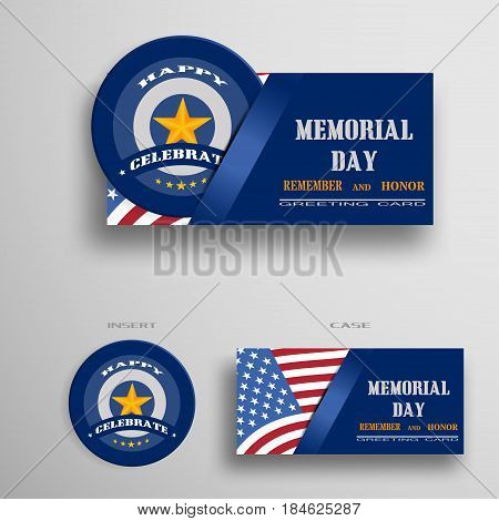 Vector greeting card for Memorial Day with usa flag insert in the form of a blue medal with gold star.