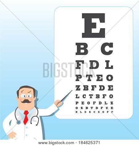 Funny man doctor optician in white coat with stethoscope, with pointer, on blue background with Snellen eye chart. Design template background