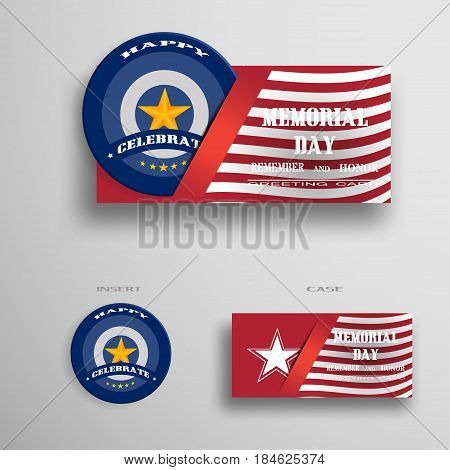 Vector greeting card for Memorial Day with usa flag insert in the form of a medal.