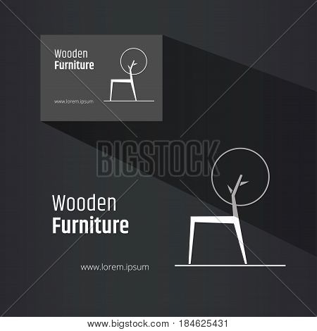 Abstract chair profile view symbol combined with tree crown - creative wooden furniture logo design. Business card design included. Eco design concept.