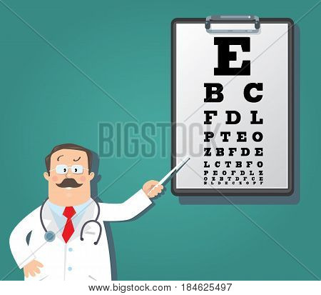 Funny man doctor optician in white coat with stethoscope, with pointer, on dark-green background with Snellen eye chart. Design template background