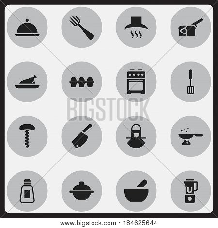 Set Of 16 Editable Cooking Icons. Includes Symbols Such As Fried Chicken, Kitchen Hood, Salver And More. Can Be Used For Web, Mobile, UI And Infographic Design.