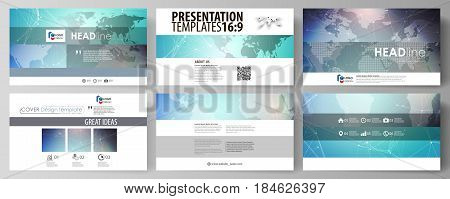 The minimalistic abstract vector illustration of the editable layout of high definition presentation slides design business templates. Molecule structure, connecting lines and dots. Technology concept.