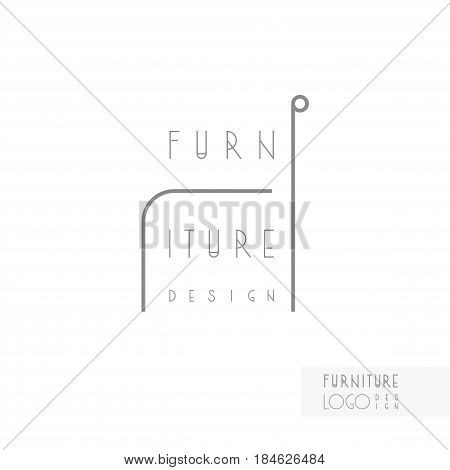 Interior designer brand identity. Chair line logo. Word in logo can be replaced by appropriate brand name. Business card template included.