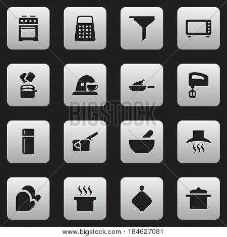 Set Of 16 Editable Food Icons. Includes Symbols Such As Slice Bread, Shredder, Kitchen Glove And More. Can Be Used For Web, Mobile, UI And Infographic Design.