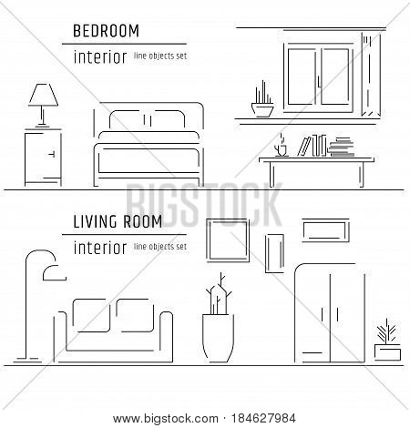 Linear flat interior design illustration of modern designer living apartment space with sofa, lamp. Outline vector graphic concept of home interior design