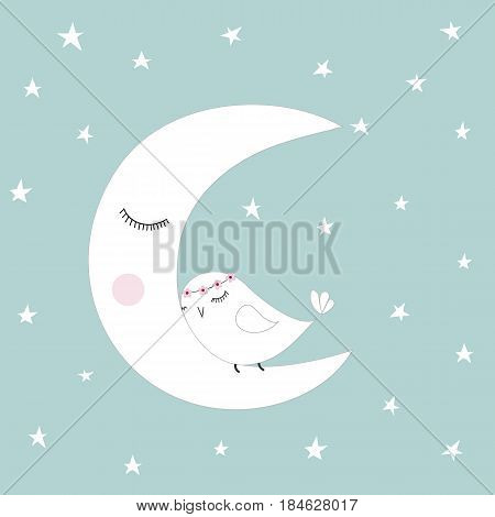 Sleeping half moon white cute bird blue night sky stars kids illustration room decoration light pastel colors greeting card template baby shower