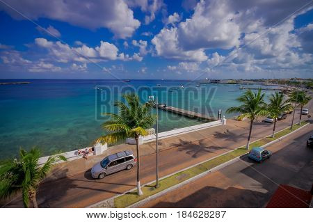 Pier of Cozumel Island, people usually walk around and enjoy the view.