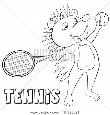 Coloring book hedgehog plays tennis. Cartoon style. Clip art for children.
