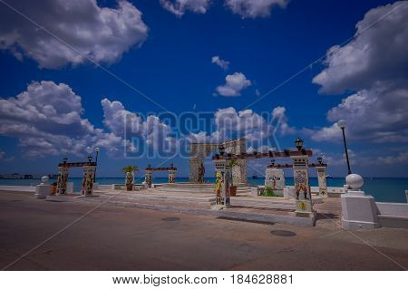 COZUMEL, MEXICO - MARCH 23, 2017: A seaside monument to Gonzalo Guerrero along the malecon in the port of Cozumel.