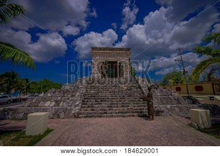 COZUMEL, MEXICO - MARCH 23, 2017: The monument of two cultures monument near the site of the first Catholic mass perfomed in Mexico.