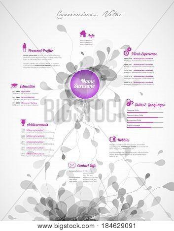 Creative purple color CV / resume template.