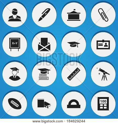 Set Of 16 Editable School Icons. Includes Symbols Such As Pen, Semicircle Ruler, Diplomaed Male And More. Can Be Used For Web, Mobile, UI And Infographic Design.