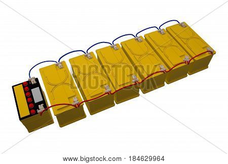 group car batteries connected isolated on white 3d rendering