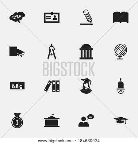 Set Of 16 Editable Science Icons. Includes Symbols Such As Courtroom, Bookshelf, Thinking Man And More. Can Be Used For Web, Mobile, UI And Infographic Design.